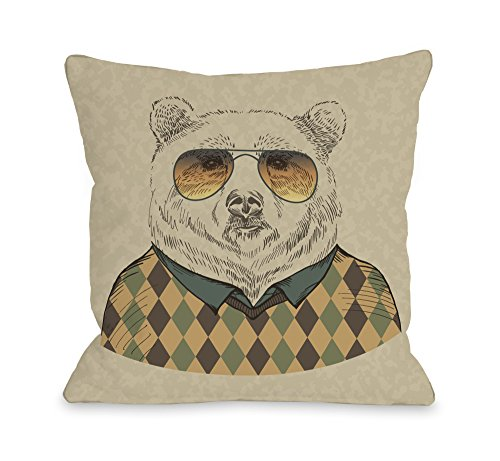 Bentin Home Decor Hipster Bear Throw Pillow Cover by OBC, 16