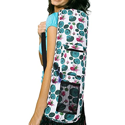 RoryTory Yoga Mat Bag w/ Adjustable Strap, Water Bottle Carrier, Inner & Outer Pockets, Heavy Duty & Machine Washable - Fits Most Yoga Mat Sizes (Water - Monster Yoga Mat