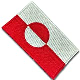 """[Single Count] Custom and Unique (2.5"""" x 1.5"""" Inch) Rectangular Shaped Greenland Greenlandic National Country State Pride Day Flag w/ Circle & Bold Stripes Iron On Embroidered Applique Patch {White, & Red Colors}"""