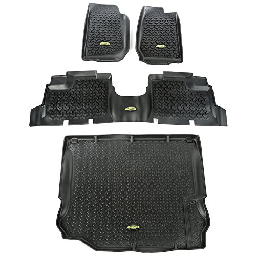 Outland 391298804 Black Front, Rear and Cargo Floor Liner Kit For Select Jeep Wrangler Unlimited