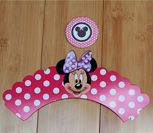 Fatflyshop - 24 Pieces/lot Minnie Mouse Cupcake Wrappers Toppers Picks Decoration Kids Birthday Party Favors Supplies
