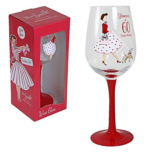 Happy Birthday Red Wine Glass With Vintage Artwork In Presentation
