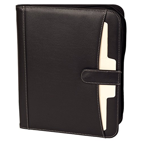 Business Portfolio Padfolio Professional Genuine Pebble Leather Zippered Organizer with Tablet Holder, A4 Letter Size Writing Pad, Calculator, Card Holder, Document Folder and Outside Pocket, (Bonded Leather Travel Wallet)