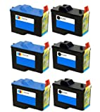 6 Pack (3BK+3C) Remanufactured (Series 2) DELL 7Y743 Black and 7Y745 Color Ink Cartridges for Dell A940 and A960 Printers, Office Central