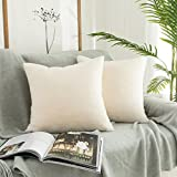 Kevin Textile Decor Faux Crystal Mink Fur/Suede Throw Pillow Covers Ins Style Super Soft Fluffy Velvet Cushion Cover for Bed/Sofa, 2 Pack, 18 inches, Ivory White
