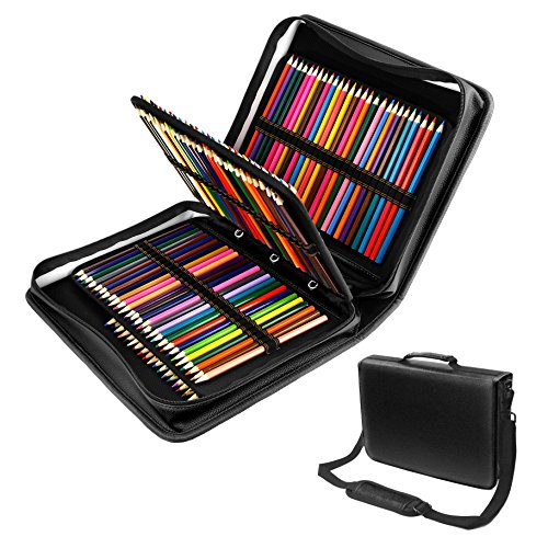 180 Slots PU leather Colored Pencil Case - Large Capacity Carrying Case for Prismacolor Watercolor Pencils, Crayola Colored Pencils, Marco Pens, Gel Pens, Lipsticks and Brushes by YOUSHARES (Black) (Case Watercolor Marker)