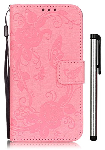 Max White Tripod Series Tripod (Galaxy S7 Wallet Case for Women Pink Leather Full Body Magnet Book Cover Cell Phone Accessories with Stand 3 Credit Card Holders 1 Cash Slot Wrist Strap Handmade Emboss Butterfly Flower Samsung G9300)