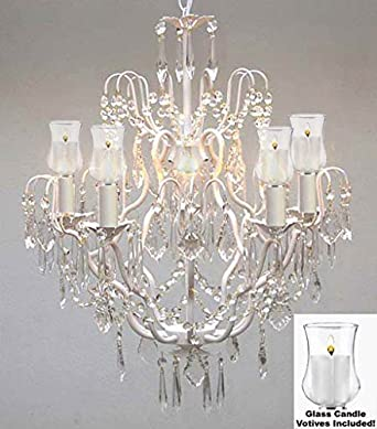 Crystal Chandelier Lighting Chandeliers W/ Candle Votives H27\
