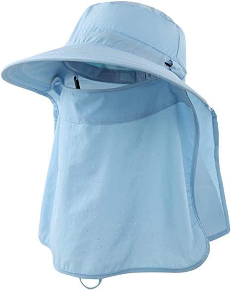 Home Prefer Mens Upf 50 Sun Protection Cap Wide Brim Fishing Hat With Neck Flap