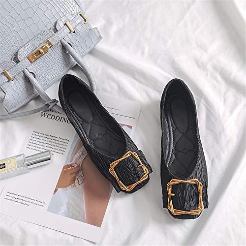 Fond Square Bouche Mocassins Noir Femelle peu Monopod plat Chaussures profonde Square Confort Boucle Casual qOzYzIpw