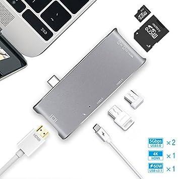 Type-C USB C to 4K HDMI USB 3.0 2.0 SD TF Multi-port PD Hub Adapter for Macbook
