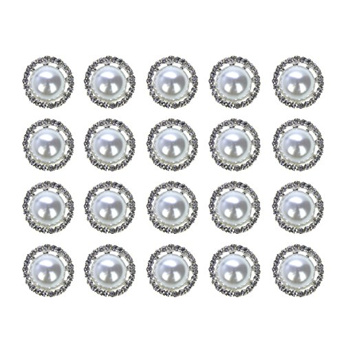 (Vranky Pack of 20pcs Retro Round Crystal Pearl Button Silver Plated Metal Base Rhinestone Buttons Bulk,20MM)