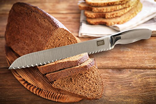 Venoly Professional 8-Inch Serrated Bread Knife - Ergonomic Handle and Ultra Sharp Cutter Blade, Perfect for All Types of Bread, including Homemade Bread Loaves, Hard Crusts, and More 6 ERGONOMIC DESIGN: With a lightly textured grip, a protective finger guard, a razor-sharp blade, and a modern design, the precision 8 Inch blade handles all your cutting tasks with ease. MANY USES IN THE KITCHEN: Designed for slicing all types of bread, cutting cakes, bagels, and other pastries are a breeze. In addition, the razor sharp blade is also excellent for working with foods like tomatoes, pineapples, and others. ENGINEERED WITH THE BEST MATERIALS: Made with a 2CR13 Steel blade and a 430 Steel hollow handle, the Venoly serrated bread knife is strong and durable. High-quality construction means that this knife won't rust or corrode when exposed to water.