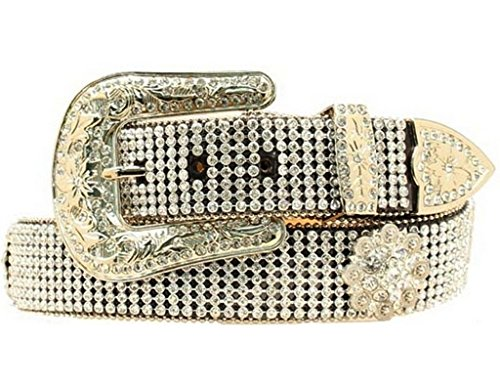 Nocona Crystal Concho Belt (Nocona Women's Croc Crystal Mesh Belt, Black,)