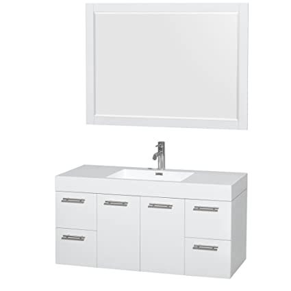 Wyndham Collection Amare 48 Inch Single Bathroom Vanity In Glossy White Acrylic Resin Countertop Integrated Sink And 46 Inch Mirror