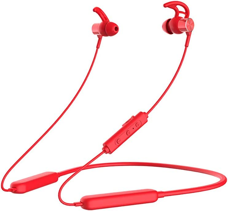 E18 Bluetooth Headphones IPX5 Waterproof, Sport Earphones, HiFi Bass Stereo Earbuds w/Mic, Noise Cancelling Headset for Workout, Running, Gym, 36 Hour Battery (Red)