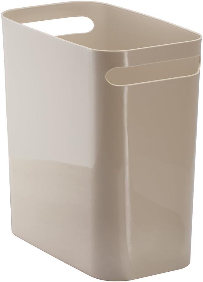 "iDesign UNA Rectangular Trash Handles, Waste Basket Garbage Can for Bathroom, Bedroom, Home Office, Dorm, College, 12"" Inch, Taupe"