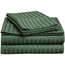 100% Premium Long-Staple Combed Cotton 300 Thread Count, Twin XL 3-Piece Bed Sheet Set, Deep Pocket, Single Ply, Sateen Stripe, Hunter Green