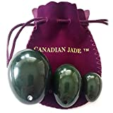 Genuine Nephrite Jade Eggs Set of 3, Drilled, Comes with String and Instructions, Large, Medium and Small 3 Sizes, For All Levels of Users, Functional Yoni Egg Sets and Display Art, Genuine Jade