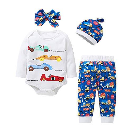 - Littay Newborn BabyLetter CarPrint T-Shirt Tops+Pants+Headband+Hat Set Casual Clothes