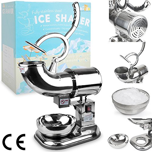 WYZworks Commercial Heavy Duty 440lb/h Sno Snow Cone Ice Shaver Shaved Icee Maker Machine Stainless