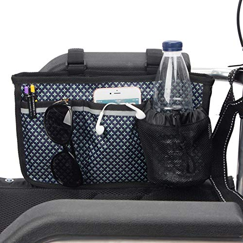 Wheelchair Side Bag with Reflective - Pacmaxi Wheelchair Bags for Armrest - Walkers Bag Wheelchair Armrest Pouch Organizer Bag for Side of Chair (Navy Blue Stars)