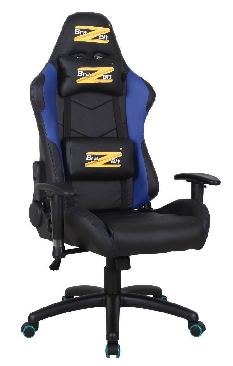 BraZen Shadow Pro Racing PC Gaming Chair -Black/Blue 17852
