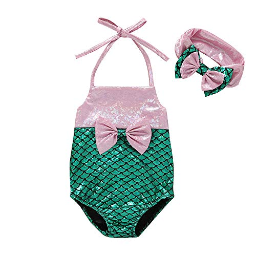 2Pcs/Set Toddler Baby Girl Mermaid Princess Halter Swimwear Bikini Bathing Suit with Headband (Green, 12-18 Months) -