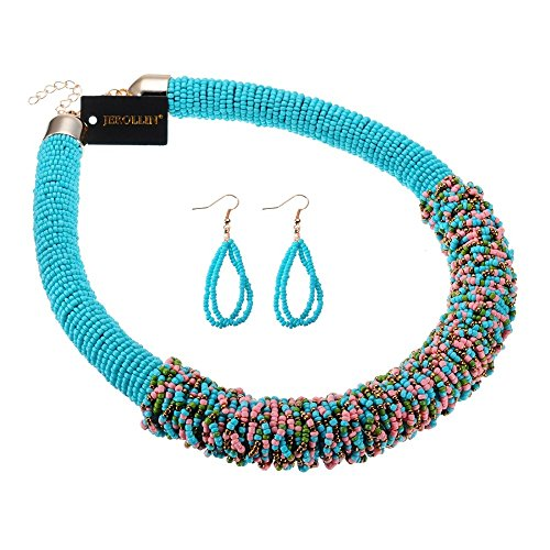 12 Colors Resin Bead Necklace Earrings Statement Jewelry Sets 2017 (Halloween Costumes Start With N)