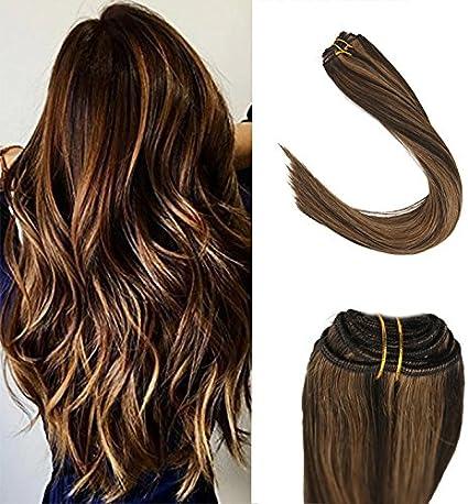 Sunny Remy Hair Extensions 100g de Pelo Natural 60cm/24Pulgadas Cabello Humano Brasileno Marron Oscuro mezclado con Caramelo Rubio # 2/27