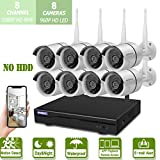 Cheap Wireless 8-Channel 1080P Security Camera System with 8pcs 960P Full HD Cameras,Home CCTV Surveillance System,Indoors&Outdoors IP Cameras+8CH House WiFi NVR Recorder,No Hard Disk Drive.
