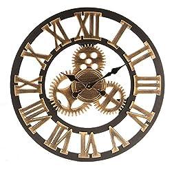 Jeteven 23.6'' Wall Clock, Retro Vintage Handmade 3D Decorative Gear Wooden Kitchen Mechanism Clock With Movements for Housewarming Round Wall Decorative Clocks (Copper)
