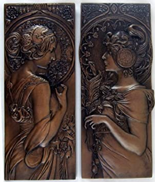 PAIR   Mucha Style Bronze Wall Plaques Art Nouveau Wall Art Sculptures