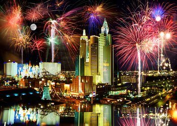 Las Vegas Fireworks Photo Art Print Poster 36 x 24in