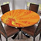 "SoSung Elastic Edged Polyester Fitted Table Cover,Head of Woman with Hair as Musical Notes Jazz Culture Entertainment,Fits up 56""-66"" Diameter Tables,The Ultimate Protection for Your Table,"