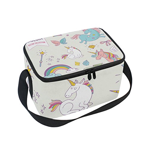 Saobao Reusable Insulated Lunch Box Tote Bag Unicon Rainbow Fairy Wings Handbag with Shoulder Strap for School work Office Travel Outdoor