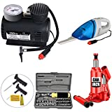Varshine Combo Car Care Kit Include 3 Tonn Car Jack, Vaccum Cleaner, Air Pressure Pump 300 PSI, Water Gun, Car Cleaner Gloves, Model Super-327