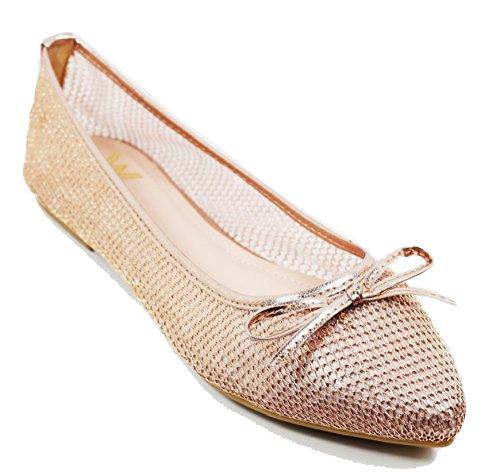 Scarpe Basse Walstar Maglia Per Scarpe Da Donna Balletto Pizzo Maglia Piatta Slip On Oro