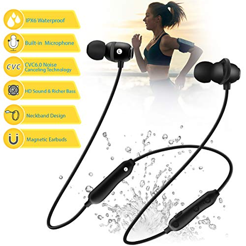 - Bluetooth Headphones 5.0 Wireless Earbuds IPX6 Waterproof Magnetic with Stereo Bass, 12 Hours Play Time,Noise Cancelling Sweatproof Sport in-Ear Earphones for Runnning Workout Gym
