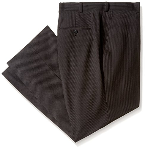 Black Pinstripe Wool Suit (Adolfo Men's Flat Front Micro Tech Portly Suit Pant, Black Pinstripe, 44W X 30L)