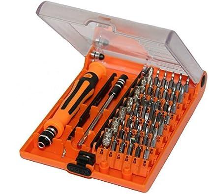Jackly - Kit de destornillador de precisión (incluye pinzas, eje de extensión y puntas intercambiables para destornillador, 45 piezas)