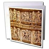3dRose Danita Delimont - Temples - Erotic carvings of Khajuraho, Madhya Pradesh, India. - 12 Greeting Cards with envelopes (gc_257183_2)