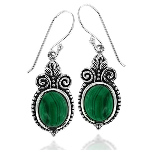 925 Oxidized Sterling Silver Ornate Oval Green Malachite Gemstone Dangle Earrings ()