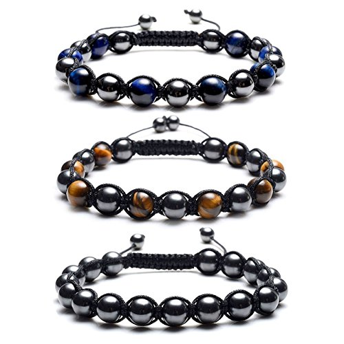(Top Plaza Men's Women's Reiki Healing Energy Natural Tiger Eye Stone Magnetic Hematite Therapy Beads Macrame Adjustable Braided Link Bracelet(Set of)