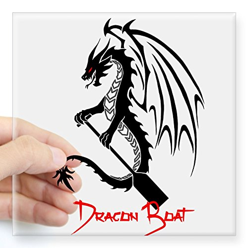 Red Dragon Boat - CafePress Dragon Boat Red Text Sticker Square Bumper Sticker Car Decal, 3