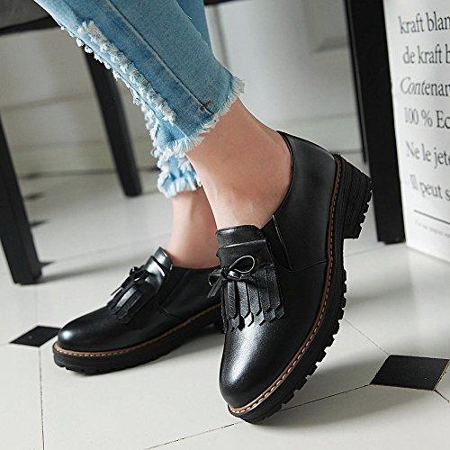 Carolbar Womens Bowknots Bout Arrondi Confort Bas Talon Chaussures De Sport Noir