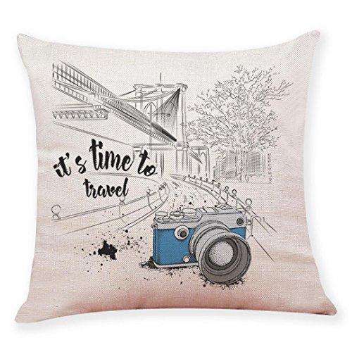 Sameno Camera Landscape Home Life Square Throw Pillow Case Decorative Durable Cushion Home Decor Sofa Standard Size Accent Pillowcase (G)