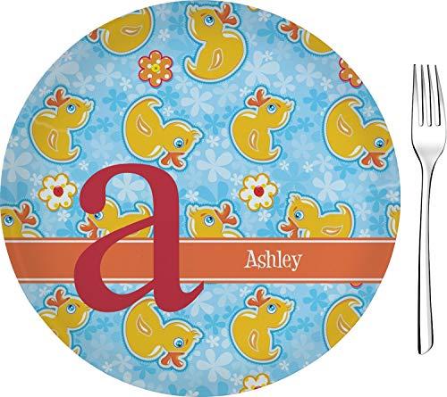 Rubber Duckies & Flowers Glass Appetizer/Dessert Plate 8