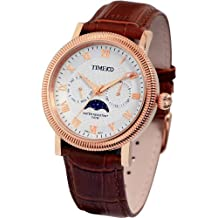 Time100 Men's Moon Phase Leather Strap Tooth Ring Watch with Week and Calendar Hands