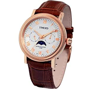 Time100 Men's Sun &Moon Phase Luminous Stainless Steel Watch with Calendar Display #W80021G.03A